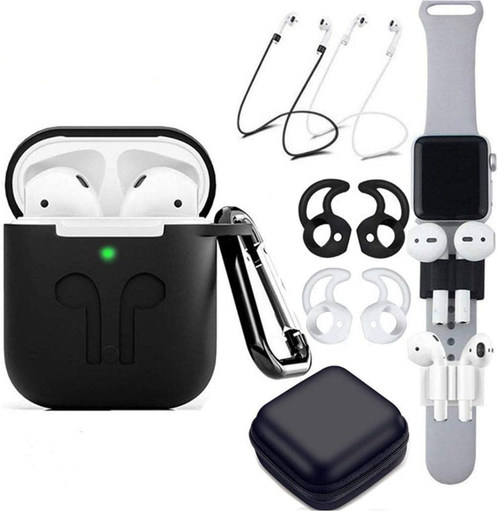 TAOSANHU AirPods Case 9 in 1 Airpods Accessories Kits Protective Silicone Cover and Skin Compatible Apple Airpods Charging Case with Airpods Ear Hook/Tips/Airpods Strap/Clips/Watch Band Holder