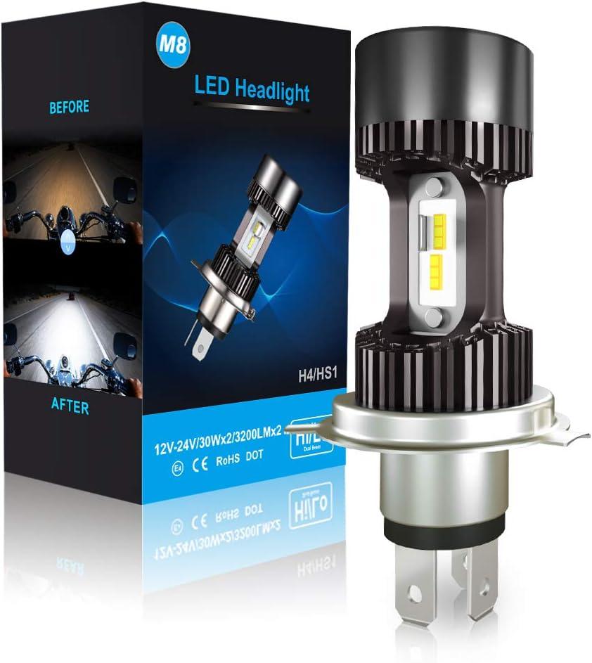 CAR ROVER Bombilla H4 LED para Faro de Moto 6400LM, DC 12V, 6000K Blanco, 1 Pieza