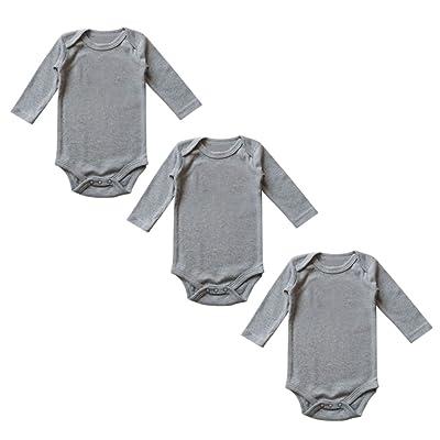c396e0af00dd 3 Pack Newborn Baby Girl Boy Long Sleeve Round Neck Toddler Soft Romper  Onesies