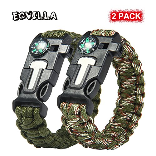 Paracord Bracelet – ECVILLA Survival Bracelet with Compass, Fire Starter, Emergency Knife & Whistle (Survival Camo)
