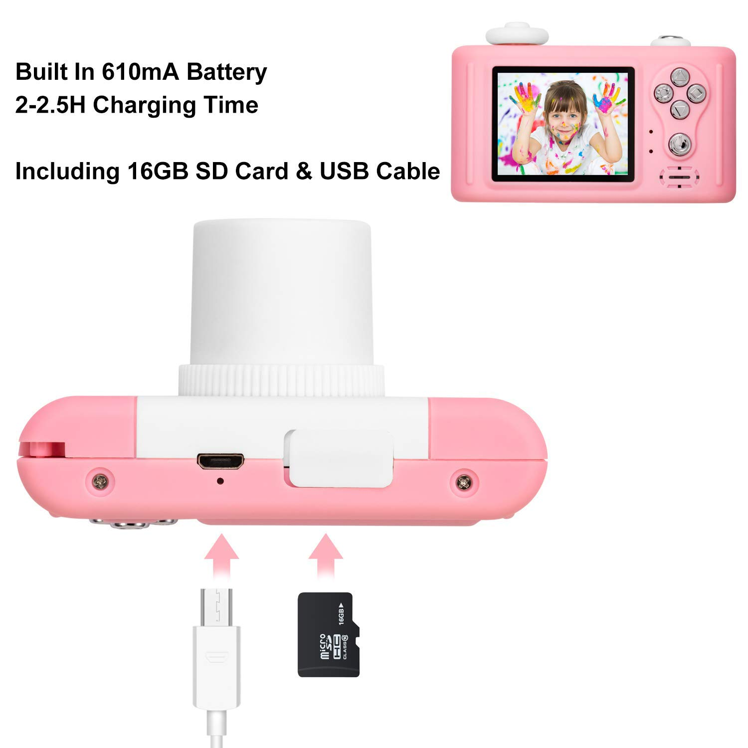 Abdtech Kids Camera Toys for 4-8 Year Old Girls, Rechargeable Children Digital Cameras with Rabbit Cover for Girl Boys Shockproof 8MP Mini Cam with 16G SD Card Best Idea Birthday Party Gift (Pink) by Abdtech (Image #4)