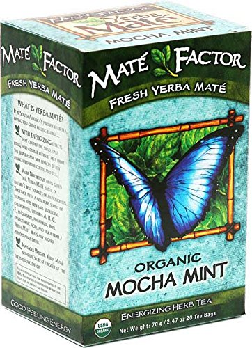 The Mate Factor Yerba Mate Energizing Herb Tea, Mocha Mint , 20 Tea Bags (Pack of ()