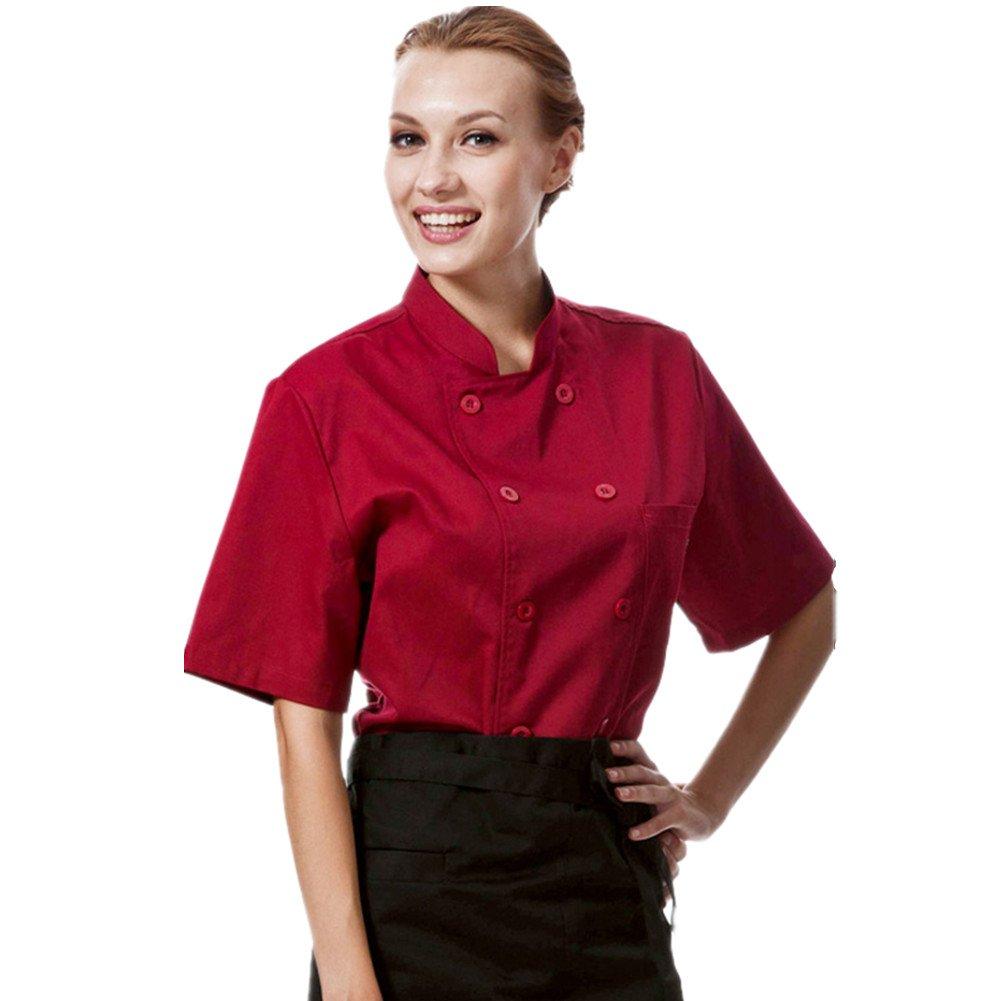 Chef Coat Black red Uniforms Short Sleeve Chef Jacket Unisex