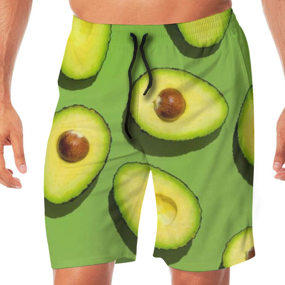 WOJUEDE Green Avocado Mens Swim Trunks Quick Dry Beach Wear Drawstring Board Shorts
