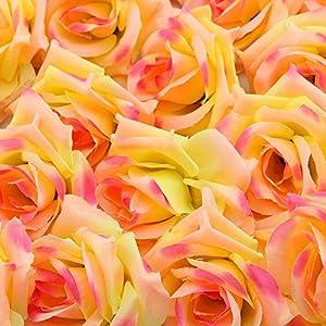 Topixdeals Silk Cream Pink Roses Flower Head, Artificial Flowers Heads for Wedding Flowers Accessories Make Bridal Hair Clips Headbands Dress 2