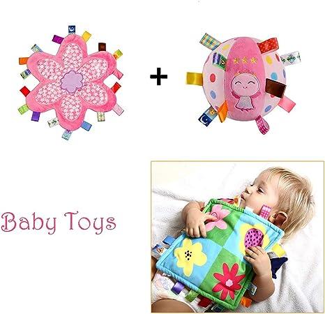 2-pack) Manta Inchant bebé de la felpa suave relleno de bola para la Educación Rattle sensorial bola Juguetes y Taggies Comfort seguridad para bebés, rosa: Amazon.es: Bebé