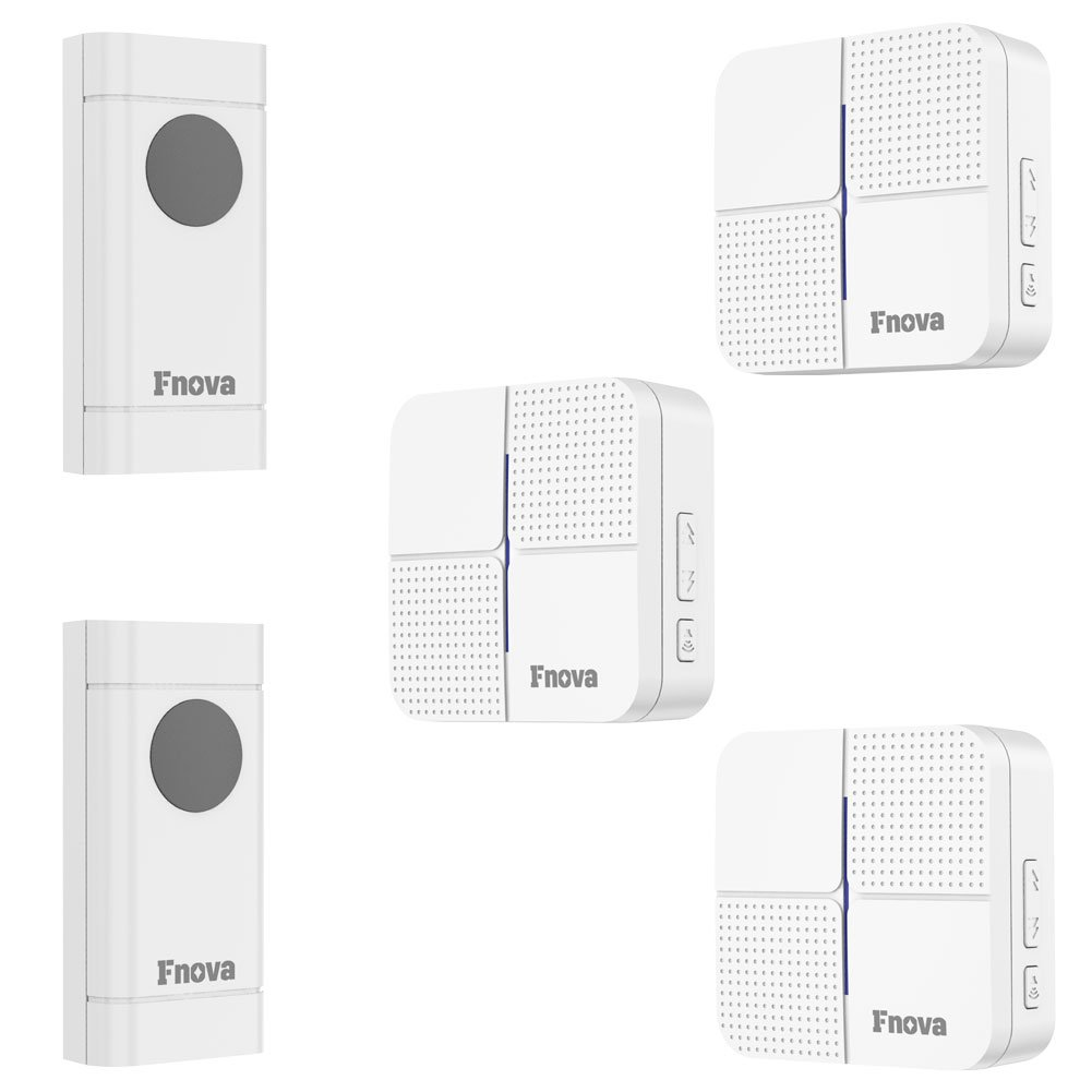 Wireless Doorbell, Fnova Waterproof Doorbell Kit Operating at 500-1000 ft with 1 Push Button and 1 Plugin Receiver, 52 Ringtones 4 Volumes, Doorbell Chime (White) (2 transmitter 3 receivers)