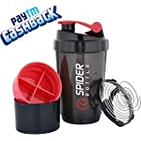V A International Cyclone Protein Shaker Bottle for Gym with 2 Detachable Compartments for Men and Women , 500 ml (Red)