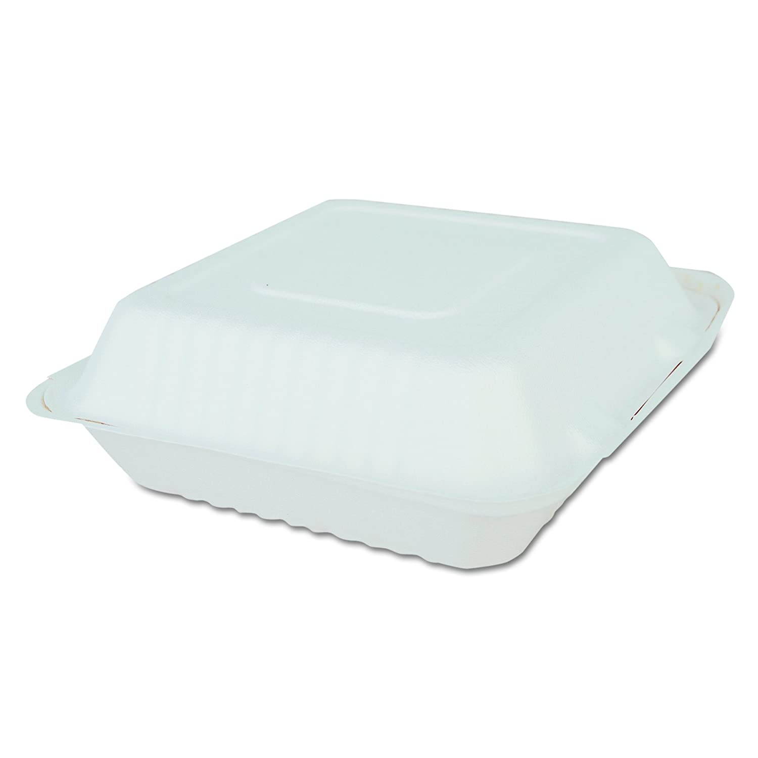 SCT 18935 ChampWare Molded-Fiber Clamshell Containers, 9w x 9d x 3h, White (Case of 200)