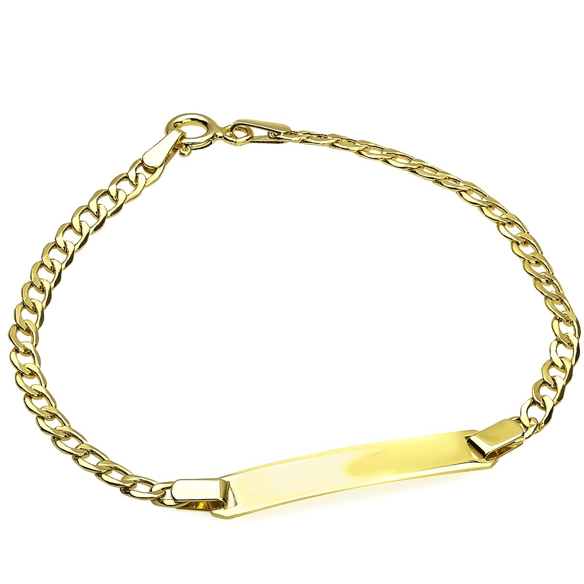 14k Yellow Gold 2.9mm Curb Baby ID Bracelet Engravable (6.0) by Jewelry by Debbie