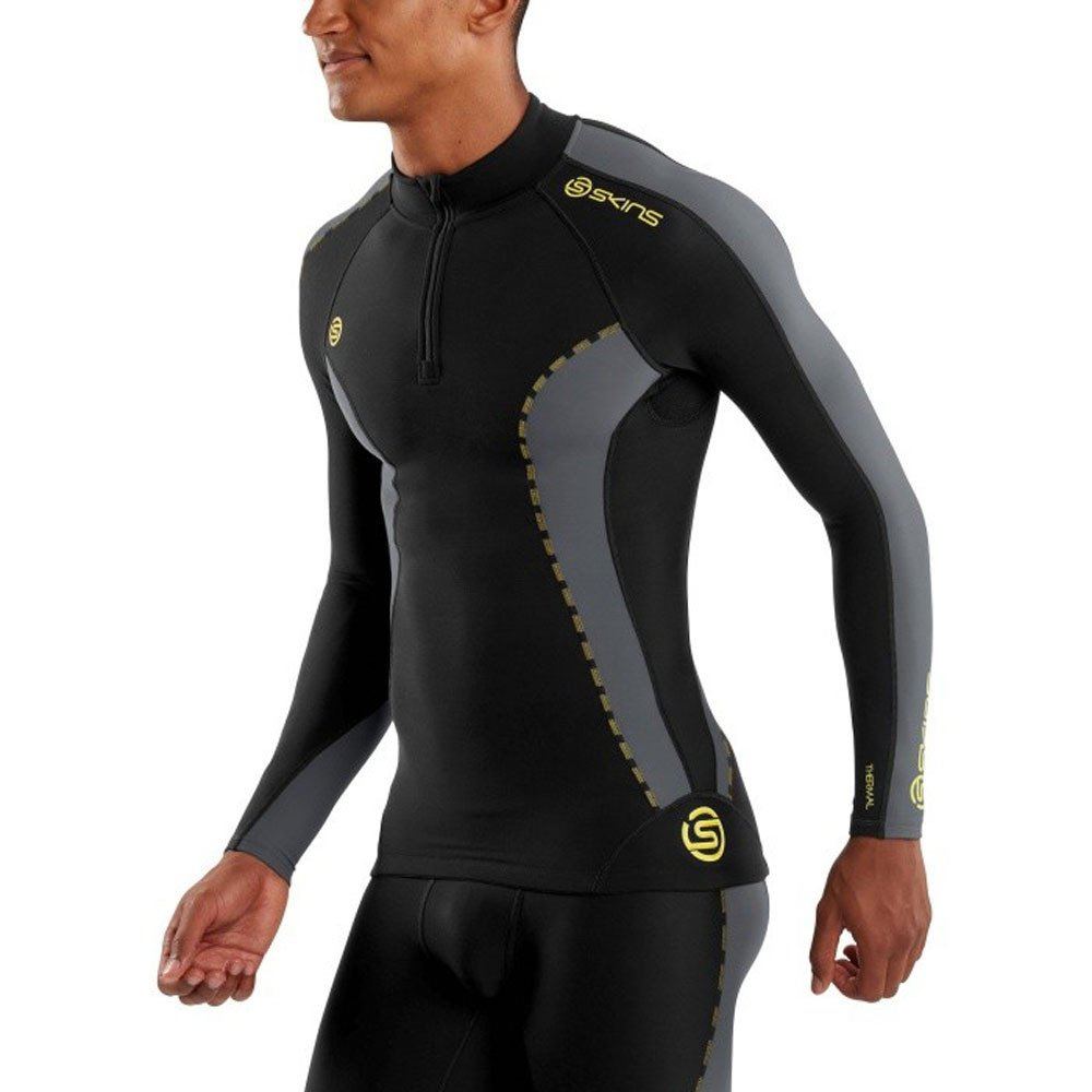 Skins Mens DNAmic Men's Thermal Compression Long Sleeve Mock Neck with Zip Top, Black/Pewter, Small by Skins (Image #6)