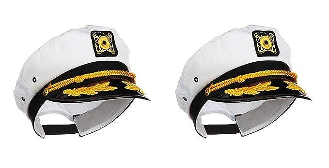838e02b32de16 Amazon.com  Ifavor123 Sailor Captain Yacht Adjustable Snapback Cap Boat  Halloween Hat - 2 Pack  Clothing
