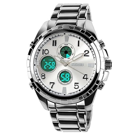amstt Hombre Hombres Joven analógico digital reloj de pulsera reloj deportivo impermeable militar reloj dual Esfera