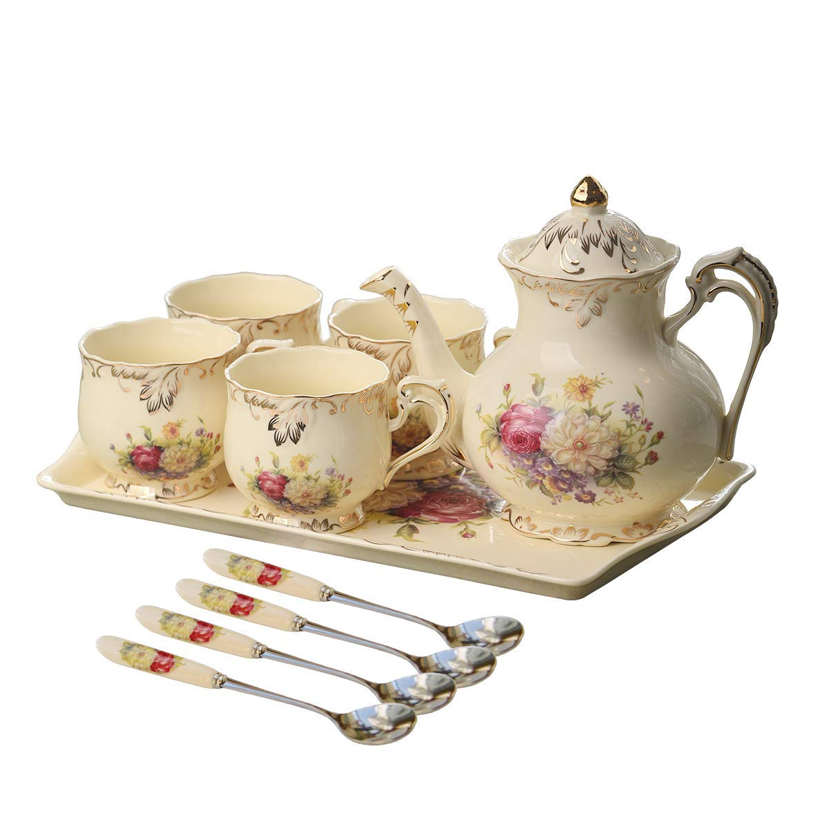 YOLIFE Flowering Shrubs Ivory Ceramic Tea Set,Porcelain Tea Cups Set,Tea Party Service Set for Adults