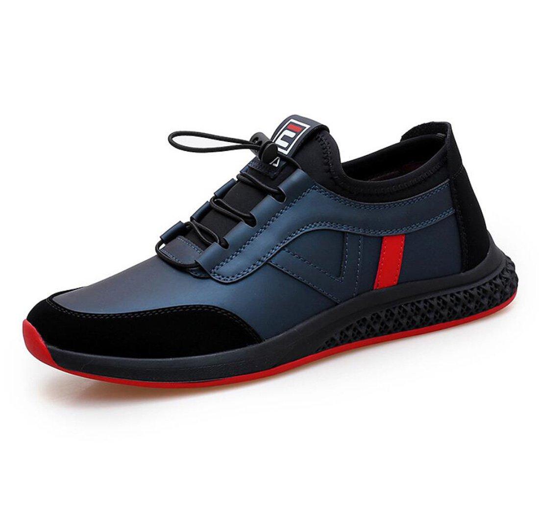 DANDANJIE Zapatos de Hombre 2018 Otoño e Invierno Nuevas Zapatillas de Deporte Zapatos Deportivos Ocasionales de Cuero Zapatos Ocasionales Respirables (Color : Azul, tamaño : 42 EU) 42 EU|Azul