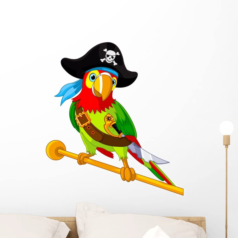 Wallmonkeys Pirate Parrot Wall Decal Peel and Stick Graphic (24 in H x 22 in W) WM159254