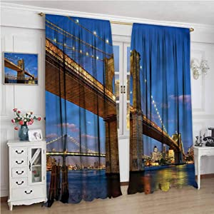 NUOMANAN Bathroom Curtains,New York Brooklyn Bridge Twilight,Drapes Thermal Insulated Panels Home décor,120 x 96 inch