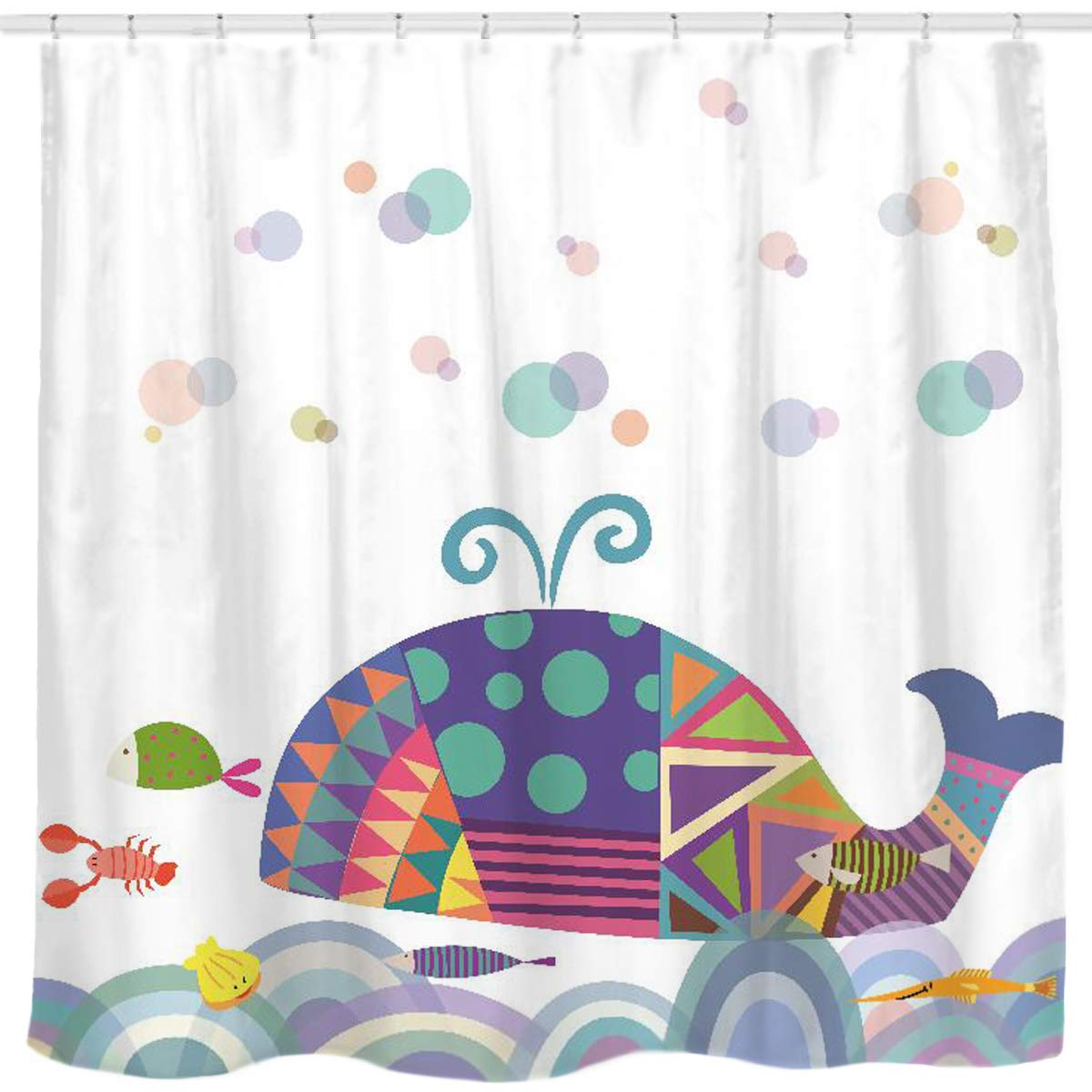 Sunlit Colorful Geometric Whale Waves Bubble Shower Curtain with Cute Marine Life Tropical Fish Shrimp, Fairy Tale Children Illustration Cartoon Abstract Bathroom Decor for Kids and Baby White