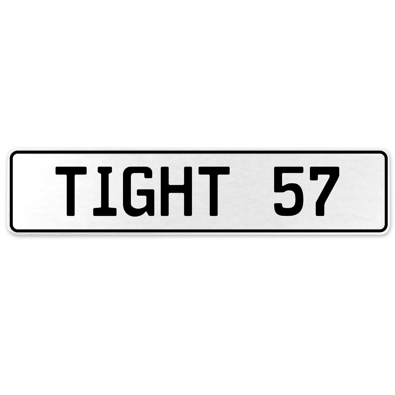 Vintage Parts 554753 Tight 57 White Stamped Aluminum European License Plate