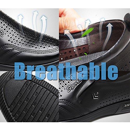 Dermis Hombres O Conducción Ocio Comfort Comfort On Slip De Temporadas Respiración A Black Moda Trabajo Agujero Zapatos Cuero De fqwEt