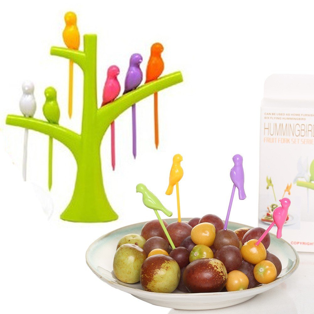Clearance  6Pcs Creative Plastic Bird Shape On The Tree Fruit Fork,for Dessert Cake Dinnerware Party Cocktail (Green)