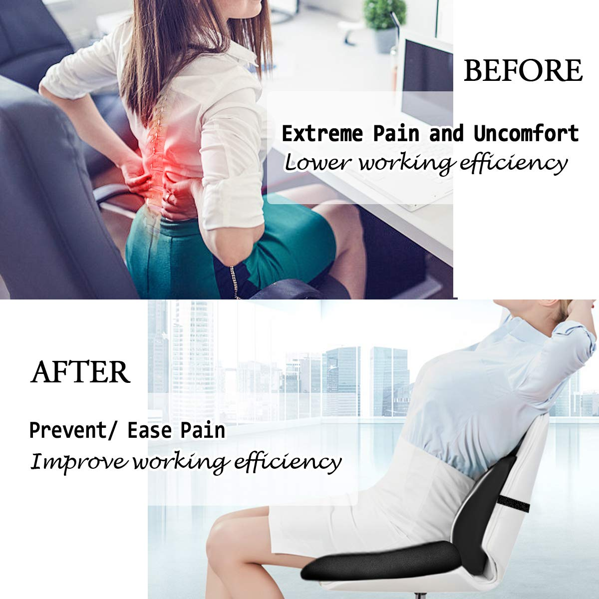 Coccyx Cushion Pad with Lumbar Support Pillow Relieves Tailbone Pain Sciatica /& Back Pain Essort Memory Foam Seat Cushion Gray Posture Corrector for Office Chair Car Seat Wheelchair