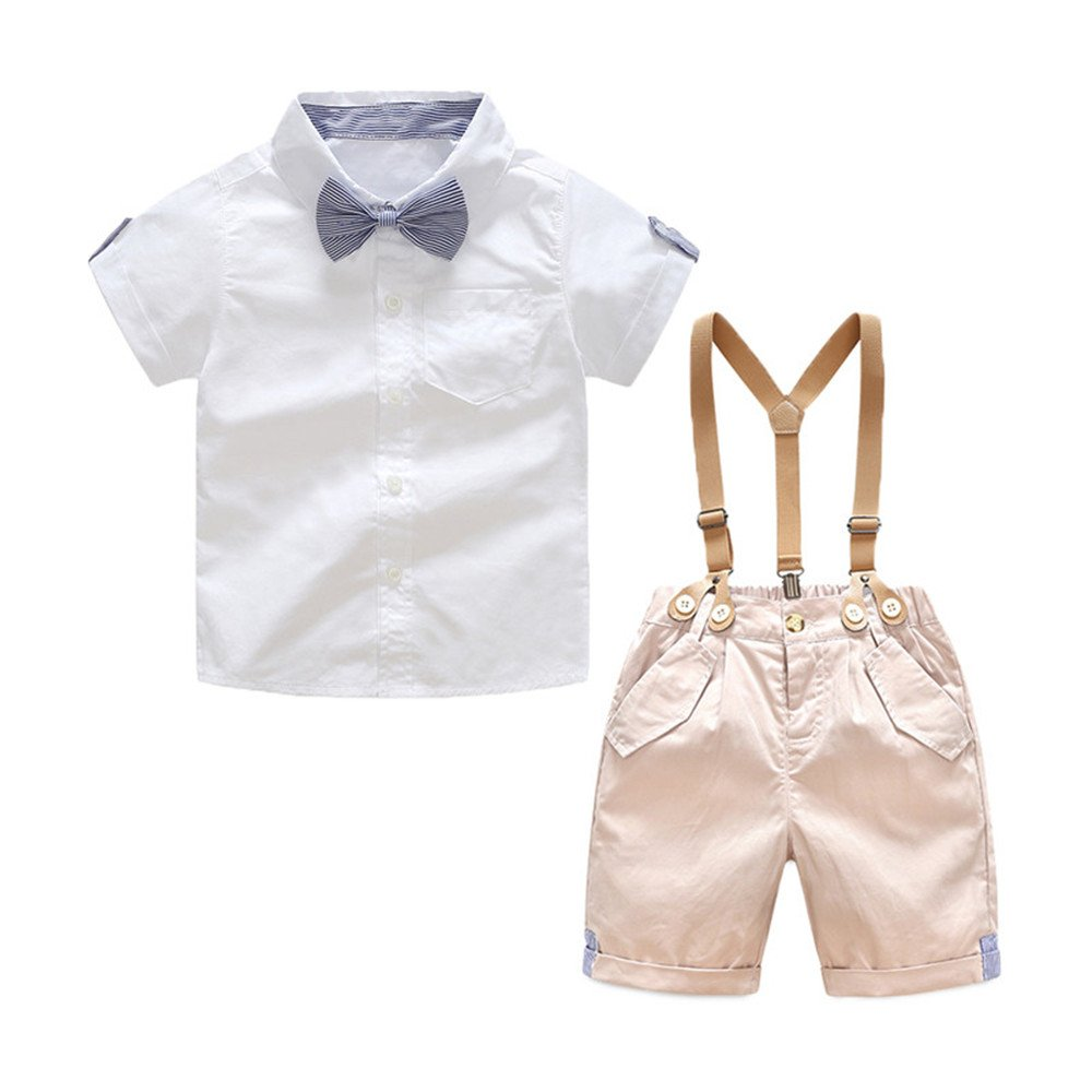 Super Kids Toddler Baby Boy Set Summer Gentleman Bowtie Short Sleeve Suspenders Shorts Outfits