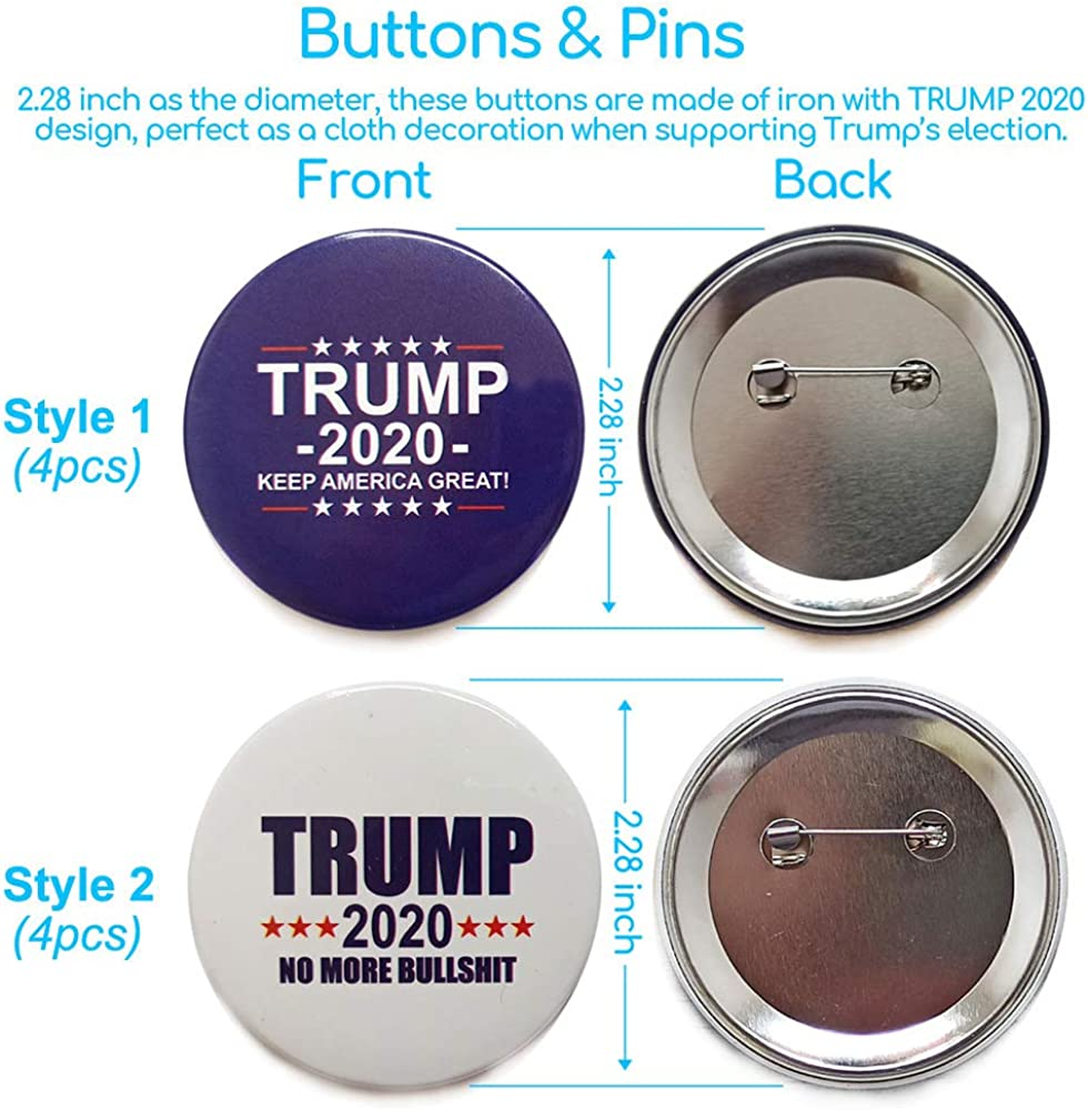 3 pin lot TRUMP 2020 1-1//4 inch stainless steel w//two clutches NOT buttons