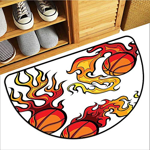 Floor Mats for Bedroom Basketball Ball Burning Flaming Hot Tournament Champi Fan-Shaped Home Decor W35xH23 INCH (Basketball Shaped Mat)