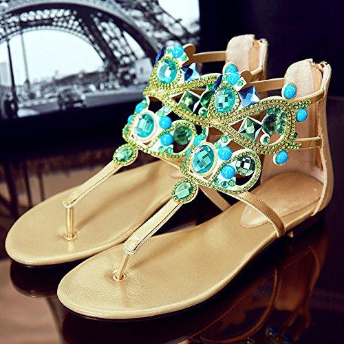 e strass Golden da Sandali bohemia spiaggia sandali con piatti con nuovi ZHZNVX strass a8q1gwEq