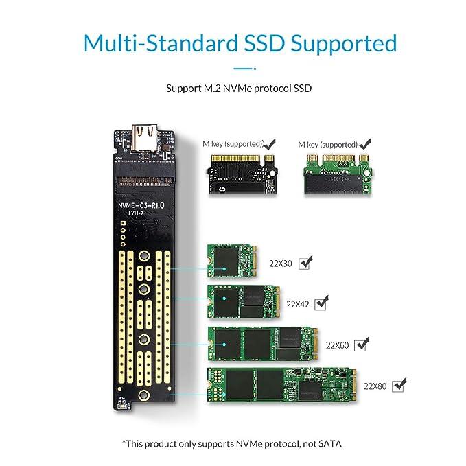 Amazon.com: ORICO NVMe M.2 SSD Enclosure Case USB3.1 Gen2 ...