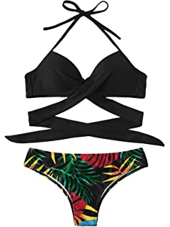 59daa8fe2e SOLY HUX Womens Sexy Padded Two Piece Floral Halter Wrap Knotted Back  Bikini Set