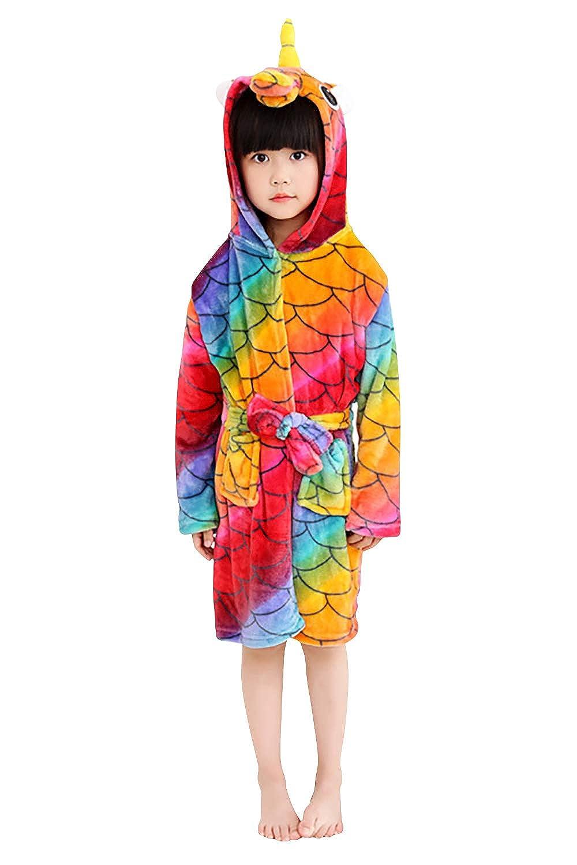 Dolamen Kid's Girl's Dressing Gowns Bathrobe with Hood, Coral Fleece Soft Kigurumi Cartoon Morning Housecoat Nightwear Pyjamas Belt Pockets
