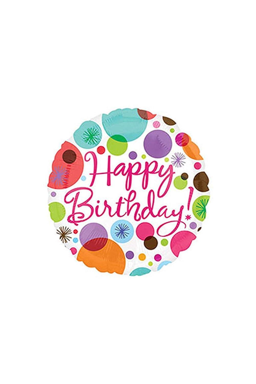 Anagram International Hx Happy Birthday Polka Dots Balloon Multicolor 1816201.0