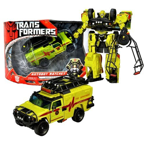 Hasbro Year 2006 Transformers Movie Series Voyager Class 7 Inch Tall Robot Action Figure - AUTOBOT RATCHET with Forearm Cannon, Hidden Axe and Roof Rack that Converts to Shield or Combat Stretcher (Vehicle Mode: HUMMER H2)