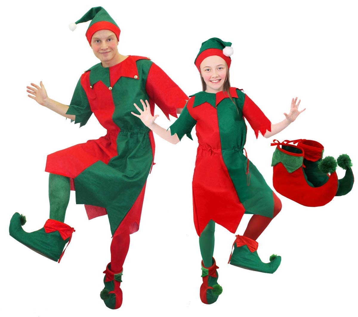 MENS & WOMENS CHEEKY ELF FANCY DRESS COSTUME. CHRISTMAS ELF COSTUME FOR MEN & WOMEN IN RED & GREEN WITH JINGLE BELLS, ELF TIGHTS, ELF HAT, AND ELF SHOES. SIZE: LADIES UK 8-10 | MENS SMALL