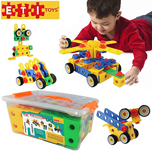 [ETI Toys-92 Piece Educational Construction Engineering Building Blocks Set for 3, 4 and 5+ Year Old Boys & Girls. Pure Engaging Fun and STEM Learning Kit! The Best Toy Gift for Kids Ages 3yr -] (Hats 4 U)