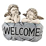 Design Toscano Raphael's Cherub Twins Welcome Statue, Two Tone Stone