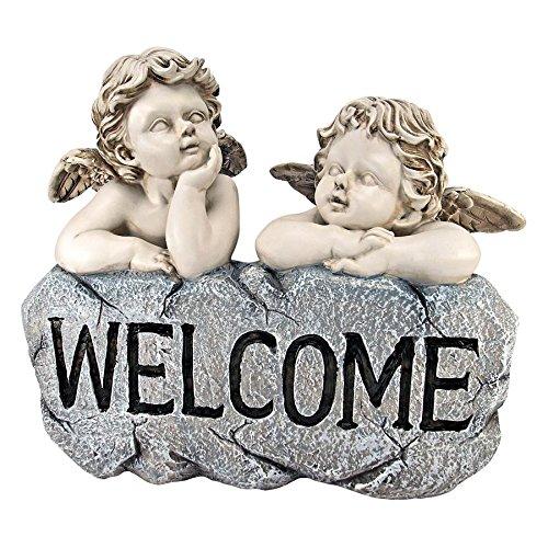 Design Toscano Raphael's Cherub Twins Welcome Statue, Two Tone Stone