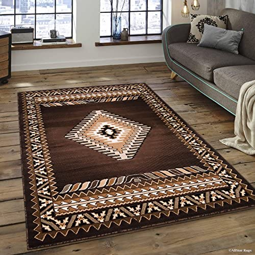 Allstar 5×7 Chocolate and Ivory Classic Navajo Machine Carved Effect Rectangular Accent Rug with Mocha and Espresso Southwestern Geometric Bordered Medallion Design 5 2 x 7 1
