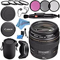 Canon EF 100mm f/2 USM Lens 2518A003 + 58mm 3pc Filter Kit + 58mm Macro Close Up Kit + Lens Cleaning Kit + Lens Pouch + 58mm Tulip Lens Hood + Fibercloth Bundle