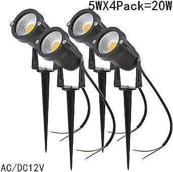 Luces de pico de jardín, 4 paquetes Focos de jardín LED Iluminación de camino de 12V