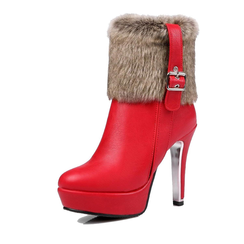 MayMeenth Women's Solid High-Heels Round Closed Toe Blend Materials Zipper Boots