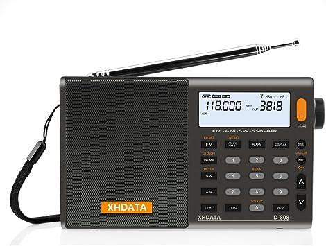XHDATA D-808 Radio Digital Portátil FM estéreo/SW/MW/LW SSB RDS Banda Aérea Altavoz de Radio con Pantalla LCD Reloj de Alarma Antena Externa y Batería ...