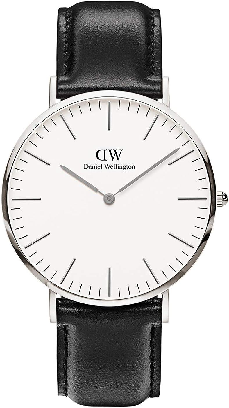 Daniel Wellington Reloj de cuarzo para hombre con esfera analógica negra de cuarzo (talla única), color blanco