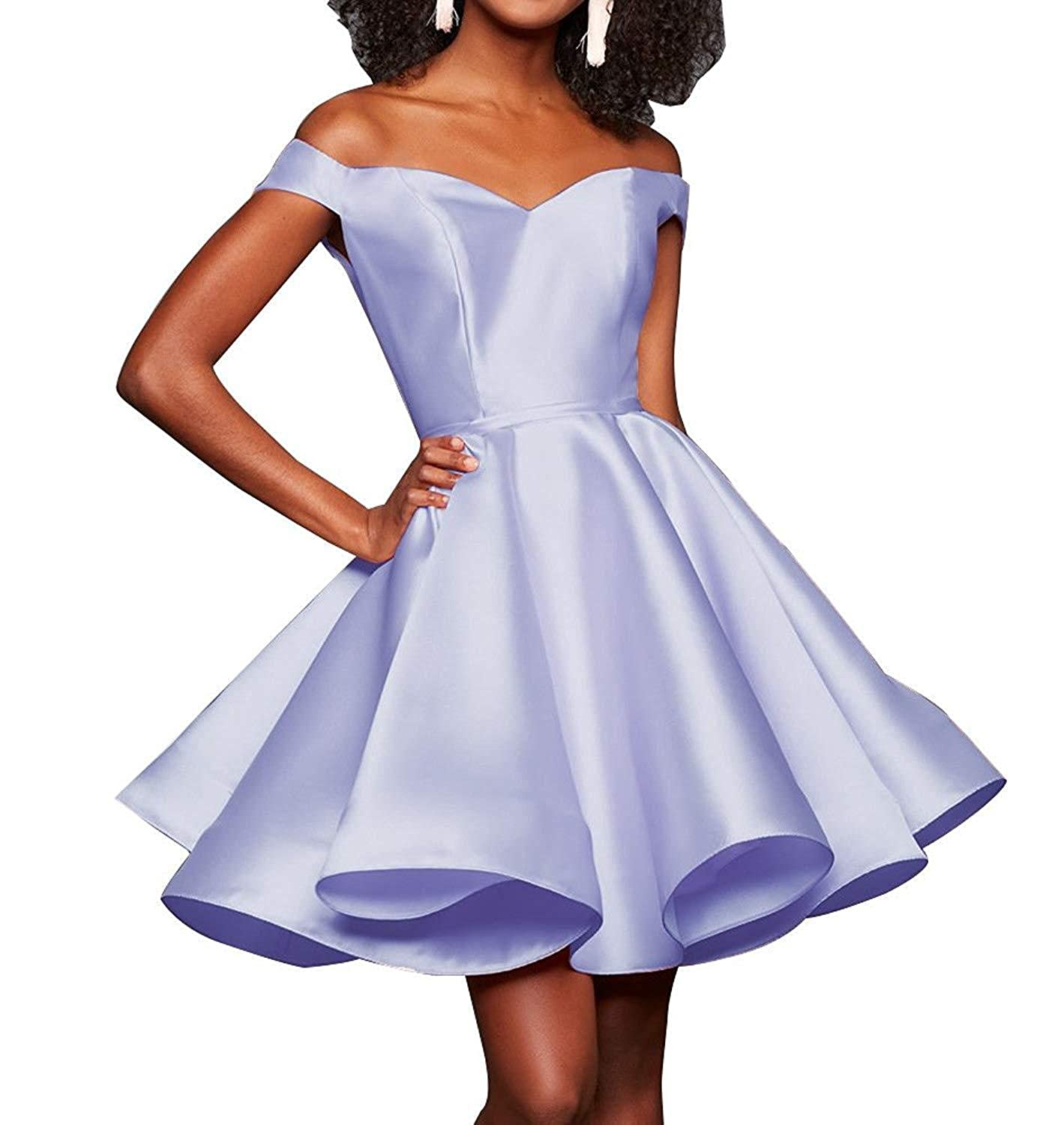 Lavendar TTdamai Off The Shoulder Satin Homecoming Dress Short Prom Party Gowns