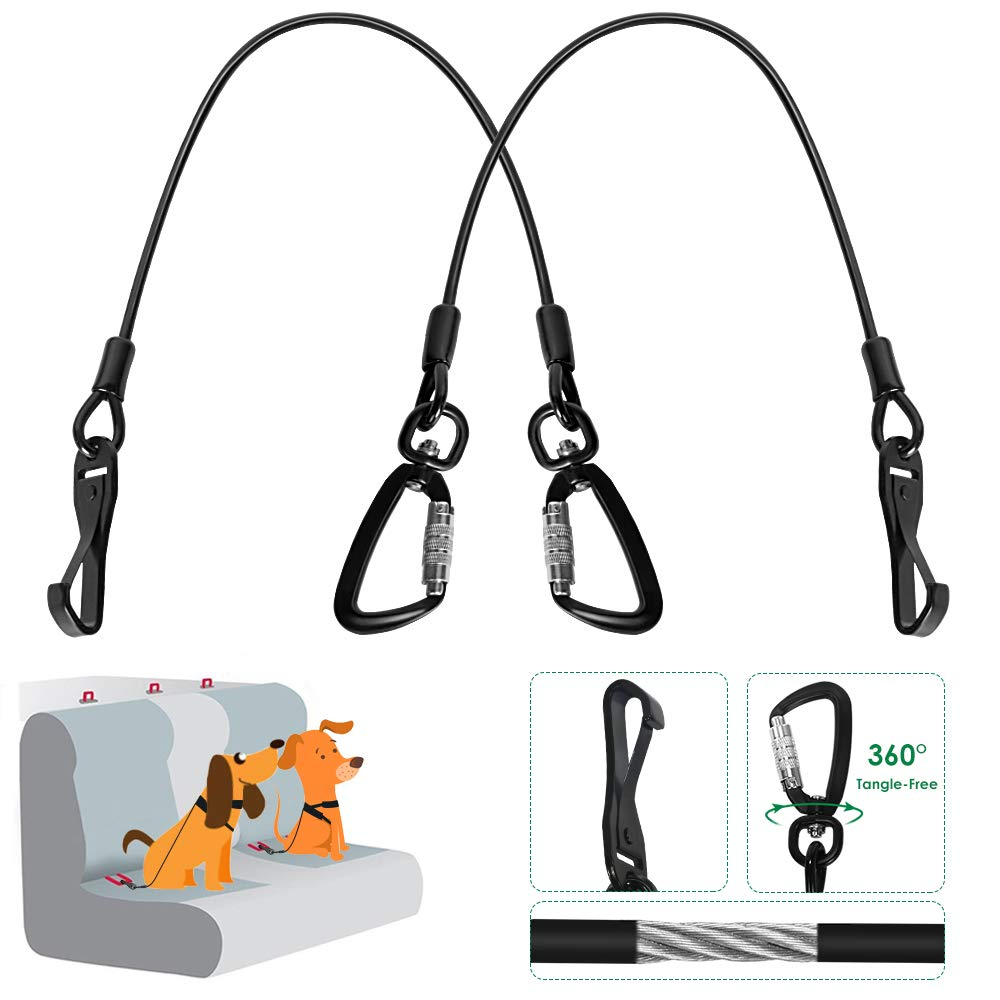 SlowTon Chew Proof Dog Seat Belt, Steel Cable Doggie Car Seatbelt 2 Packs Sturdy Safety Belt Puppy Vehicle Tether, with Latch Bar Attachment & Lockable Swivel Rock Climbers Carabiner (Large - 2 Pack)
