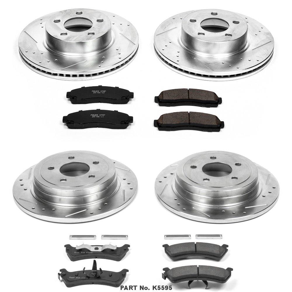 Power Stop K5595 Front /& Rear Brake Kit with Drilled//Slotted Brake Rotors and Z23 Evolution Ceramic Brake Pads