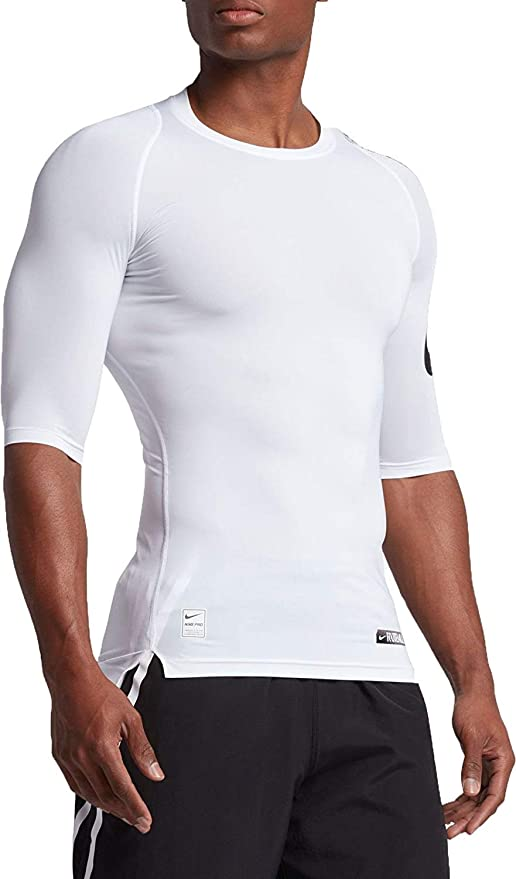 c7194147076f92 Nike Pro Men s Dri-Fit Half Sleeve Football Compression Top Shirt White  837174 100 Size
