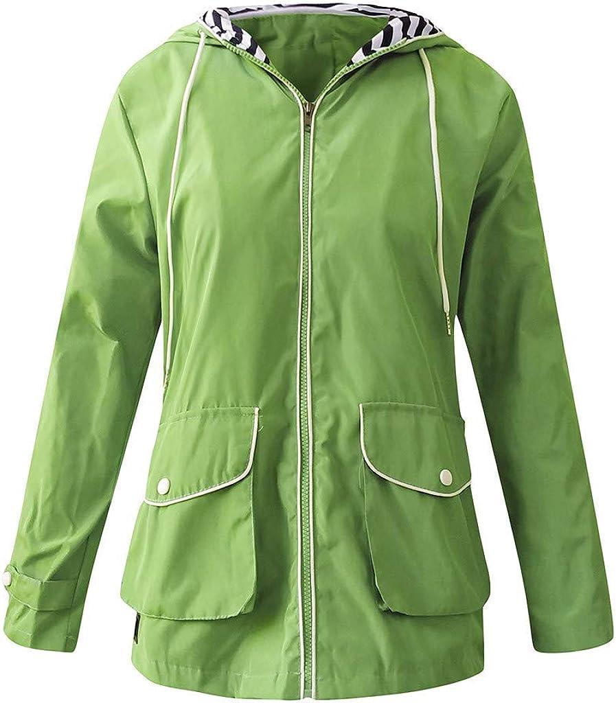 Womens Waterproof Rain Jacket Hooded Raincoat Lined Outdoor Windbreaker Ladies Long Sleeve Zipped Trench Lightweight Fast Drying Sunscreen Winderproof Loose Coats Outwear Stormsuit Snowsuits